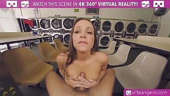 VR BANGERS Curvy horny slut teasing in lingerie at public laundry