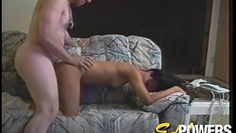 Asian blows and fucks a dirty old white guy