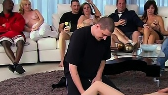 A wild masturbation party with amateur swinger couples.