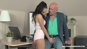 Old boss enjoys fucking pretty young intern Nicole Love and cums in her mouth
