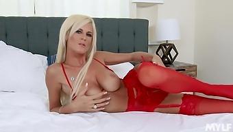 Slender blond milf with big tits Olivia Blu hooks up with new boyfriend