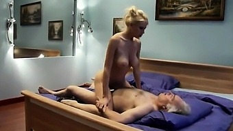 This slut knows how to ride on grandpa