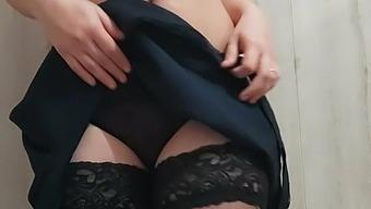 Girl masturbates pussy lips