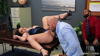 Cuckold man watches his sexy wife Leila Larocco riding in the office