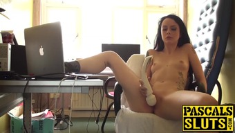 Naughty British beginner Alessa Mean masturbating