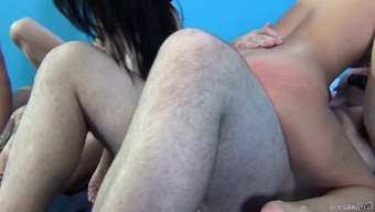 Strong tramps Aaliyah Love, Aiden Ashley and Alby Rydez have a thumping in a panel sex sitting