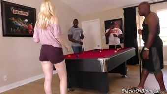 Attractive blond Lily Rader promotions her whole body to striking dark colored men
