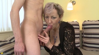 Scorching age cock bitch in stockings has stunning intercourse