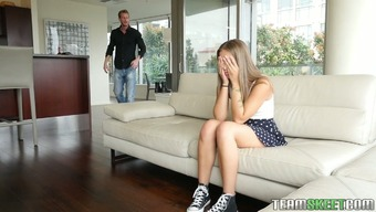 Adorable ginger haired beauty blows dick associated with a deep guy on the divan
