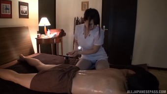 Mion Hatuski flashes her stockings while you are jerking a male off