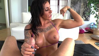 Needled on hottie with the use of great titties milking a dong in shut down pov