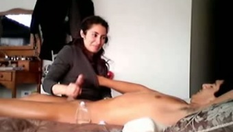 Perverted Desi wifey teases her hubby along with erotic massage therapy and handjob
