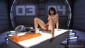 That often machine keeps fucking her stormy Latina clit