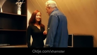 Noble grand father gets sensual many thanks from grateful brunette teenager