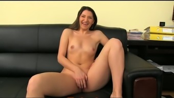 Playful blonde girl presents bare and tours a tilt for a the casting of