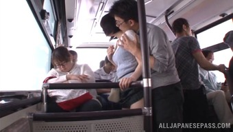 Elegant Japanese people dame in attractive panties gets fucked within the public train