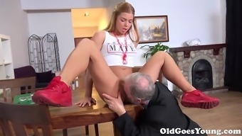 Old Goes Youthful - Chrissy Coyote provides the sweetest young adult pussy