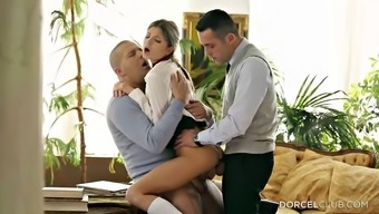 Double hiding her stormy young adult fuck cracks in a threesome