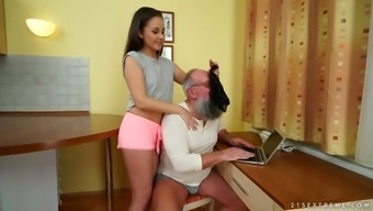 Old fart is sniffing panties and fucking sweet looking younger young adult