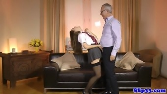 Great britain schoolgirl doggystyled by pensioner