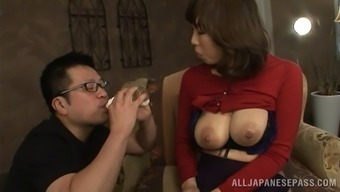 Milk thing cool guy sucking his babe big genuine tits but fire