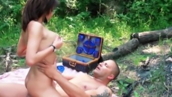 Young The french language beauty with the use of astonishing tits fucks in the woods.