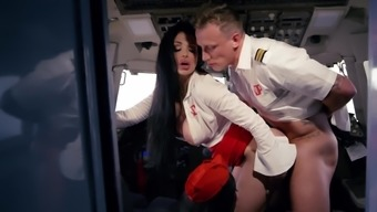 Lucky pilot fucks two amazing stewardesses during flight