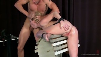 Submissive tied up Adrianna Nicole has to suck dick after being anal banged