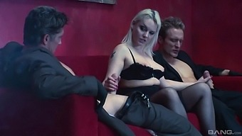 Hot Alexandra Cat craving for two dicks between her tits and legs